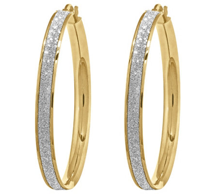 14K Gold Large Glitter Infused Hoop Earrings