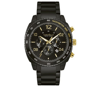 Caravelle New York Men's Black Stainless Chronograph Watch - J344457