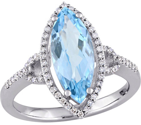 14K Gold 2.80 ct Blue Topaz & 1/5 cttw DiamondRing