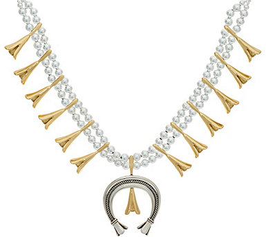 "Sterling Silver and Brass Bold 21"" Squash Blossom Necklace - J347057"