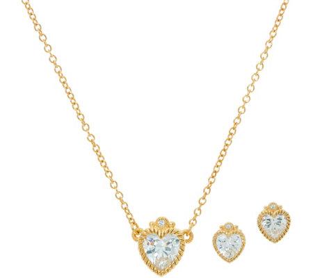 Judith Ripka Sterling Amp 14k Clad Diamonique Heart Earrings