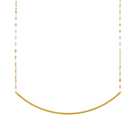 """As Is"" 14K Gold Polished Curved Bar Necklace"