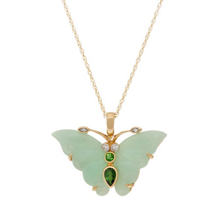 "Carved Burmese Jade Butterfly Enhancer on 18"" Chain, 14K Gold"