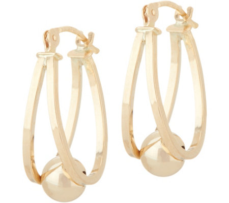 14K Gold Polished Captured Bead Hoop Earrings