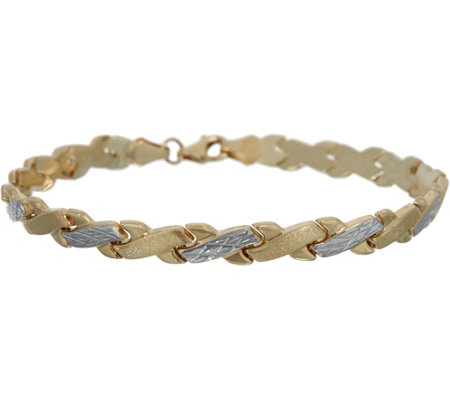 "14K Gold 8"" Stampato Criss-Cross Design Bracelet"