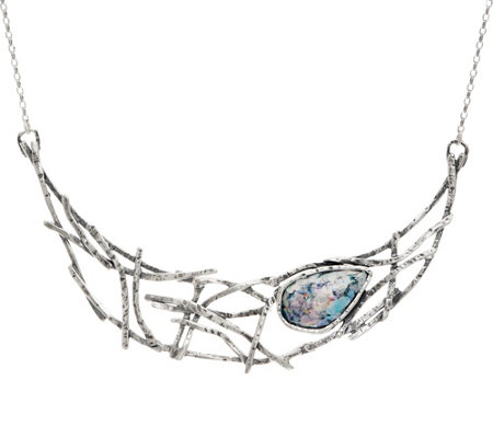 Or Paz Sterling Silver Pear Shaped Roman Glass Web Necklace