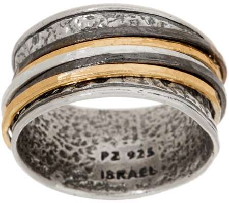 Or Paz Sterling Silver Tri-color Spinner Ring
