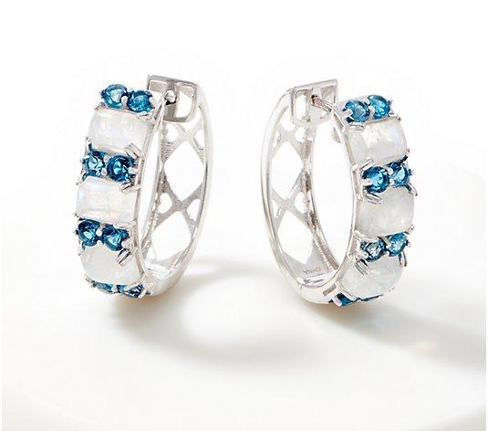 Sterling Argent 1.50 Ct Topaze Bleue Intérieur Ovale Hoop Percé Boucles d/'oreilles QVC