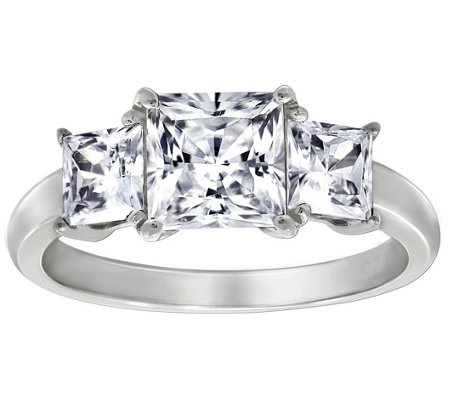 Diamonique 2.50 cttw 3 Stone Princess Cut Ring, Platinum Clad