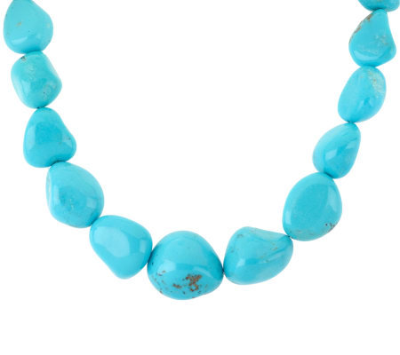 Southwestern Campitos Turquoise Nugget and Sterling Necklace