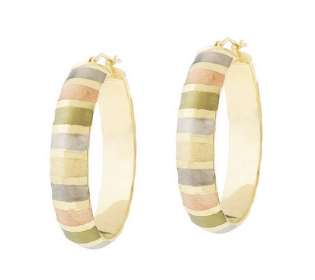 "VicenzaGold 1-1/2"" Satin & Polished Oval Hoop Earrings, 14K"