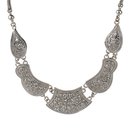 "Artisan Crafted Sterling 18"" Floral Design Station Necklace, 38.9g"
