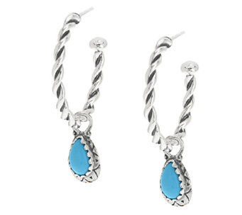 Sleeping Beauty Turquoise Sterling Hoop Earrings by American West - J284558