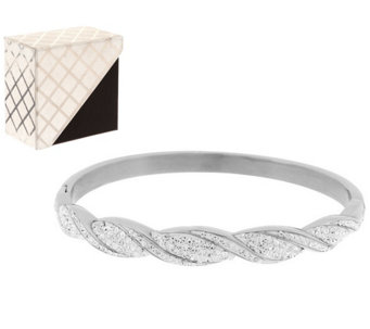 Stainless Steel Ribbed Design Crystal Hinge Bangle w/Box - J284758