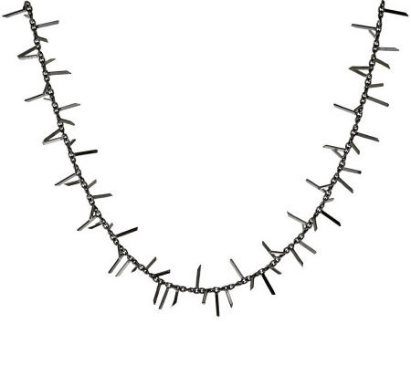 "Vicenza Silver Sterling 24"" Polished Fringe Design Station Necklace, 11.3g"