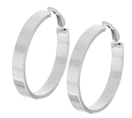 "Sterling 1-1/2"" Polished Omega Back Hoop Earrings"