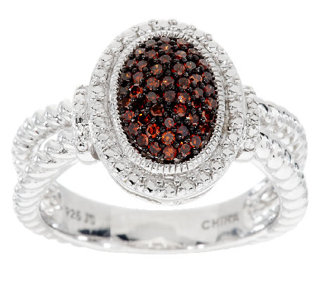 Pave' Color Oval Diamond Ring, Sterling, 1/4 cttw, by Affinity