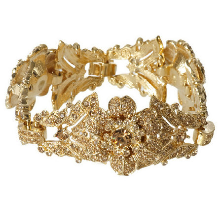 """As Is"" Isaac Mizrahi Live! Pave Crystal Flower Bracelet"