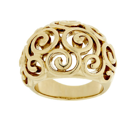 14K Gold Bold Polished Swirl Design Ring