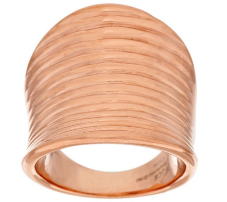 Stainless Steel Ribbed Saddle Design Ring
