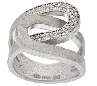 VicenzaSilver Sterling Interlocking Diamonique & Satin Ring - J296258