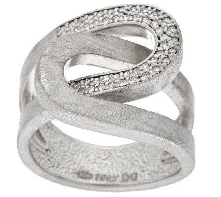 Italian Silver Interlocking Crystal & Satin Ring, Sterling