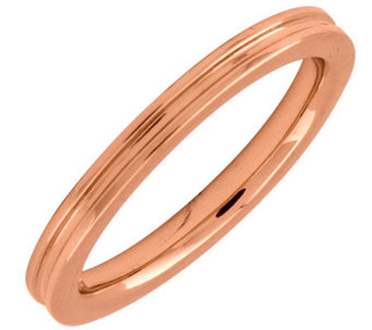 Simply Stacks Sterling 18K Rose Gold-Plated 2.25mm Groove Ring - J298058
