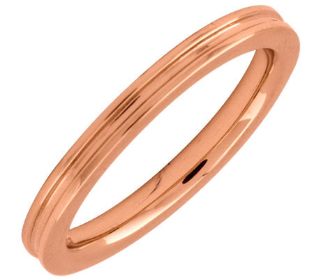 Simply Stacks Sterling 18K Rose Gold-Plated 2.25mm Groove Ring