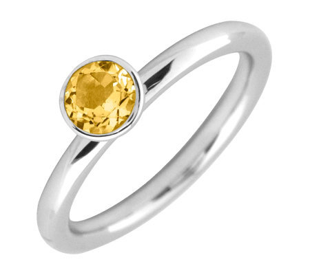 Simply Stacks Sterling 5mm Round Citrine Solitaire Ring