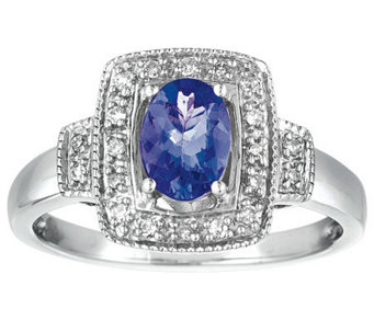 Sterling Oval Tanzanite and Diamond Accent Ring - J308558