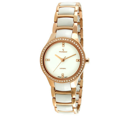 Peugeot Women's Swiss Ceramic Rose Goldtone Bezel Link Watch