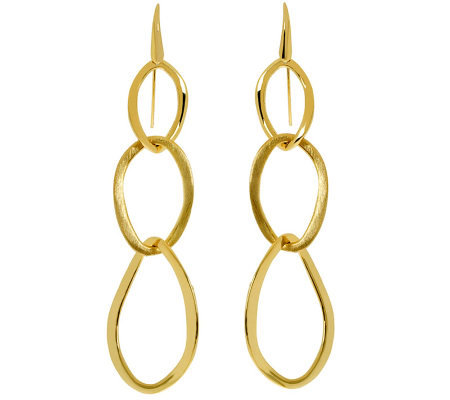 Arte d'Oro Polished & Satin-Finish Triple Dangle Earrings, 18