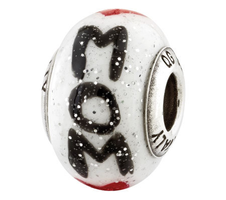 Prerogatives Sterling Mom w/ Hearts Italian Murano Glass Bead