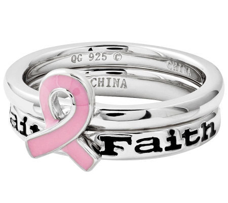Simply Stacks Sterling Pink Awareness Faith Ring Set