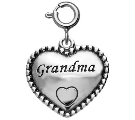 "Sterling Beaded ""Grandma"" Heart Charm"