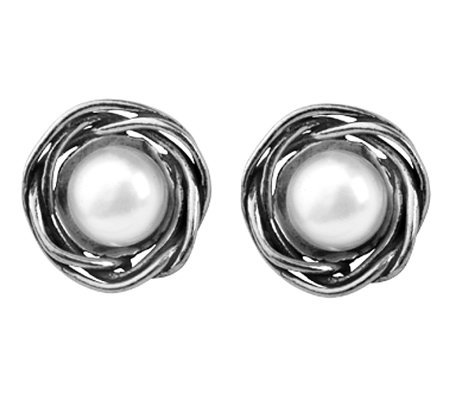 Or Paz Sterling Cultured Freshwater Pearl RoundStud Earrings