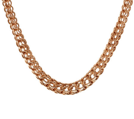 "Bronzo Italia 16"" Graduated Cage Link Necklace"
