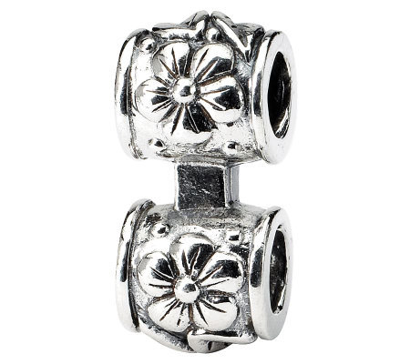 Prerogatives Sterling Floral Barrel Connector Bead