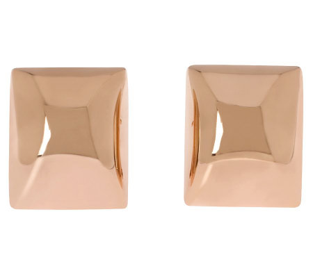 Bronzo Italia Bold Polished Rectangular ButtonEarrings
