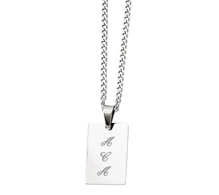 "Stainless Steel Polished Engravable Pendant and24"" Chain"