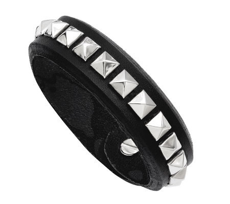 Stainless Steel Adjustable Black Leather Stud Bracelet
