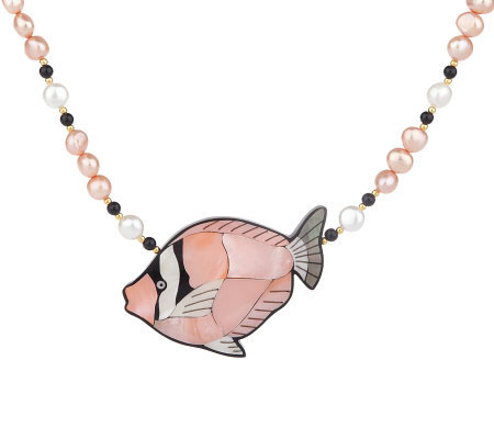 Lee Sands Picasso Trigger Fish Inlay & CulturedPearl Necklace