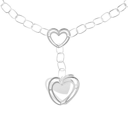 Sterling Dimensional Heart Drop Link Necklace