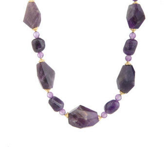 "Lee Sands Amethyst Beaded 18"" Adjustable Necklace - J315058"