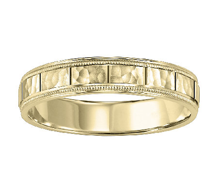 4.5mm Men's Square Pattern Wedding Band, 14K Yellow Gold