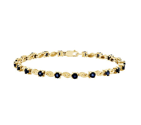 "7"" Choice of Gemstone Scroll Tennis Bracelet, 1 4K Gold"