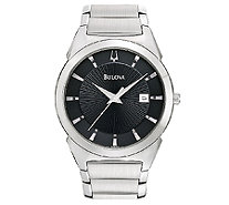 Bulova Men's Stainless Steel Black Dial Watch - J316458