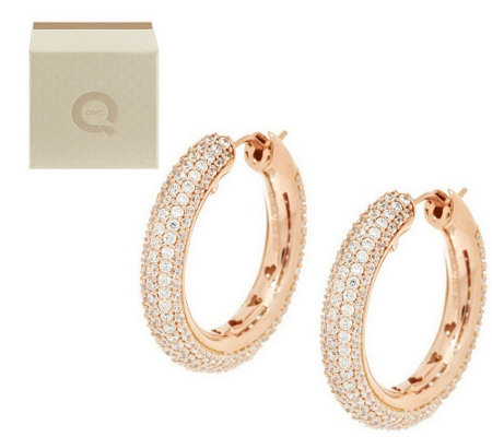 """As Is"" Diamonique Ultra Pave' Bold 3.60 ct tw Hoop Earrings"