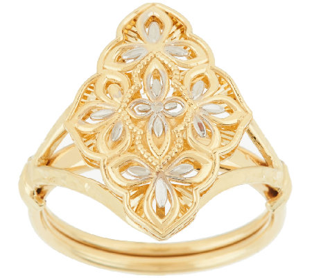 14K Gold Two-Tone Diamond Cut Marquise & Lace Design Ring