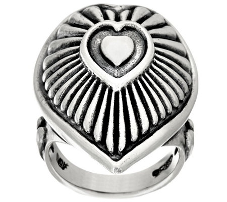 Sterling Silver Heart or Cross Bold Ring by American West